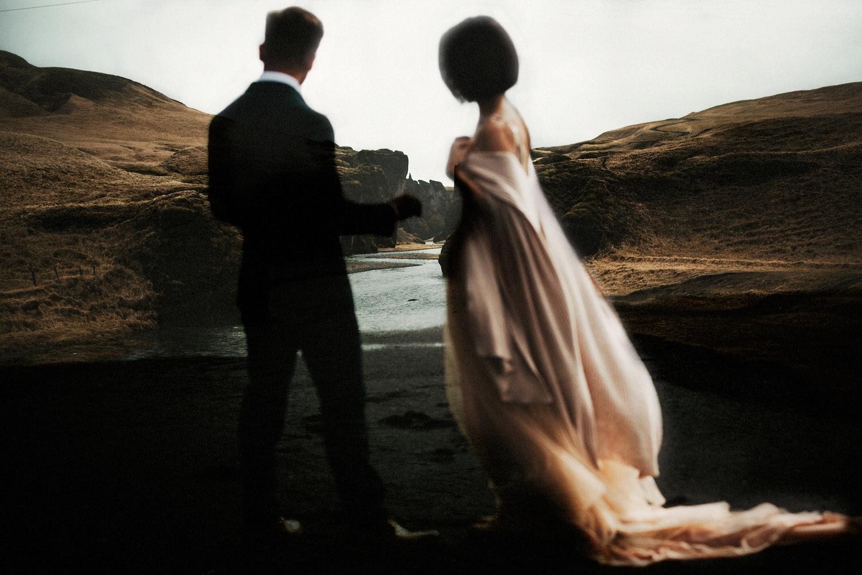 Iceland Elopement / Sumarokova Atelier Gown / Fjaðrárgljúfur Canyon