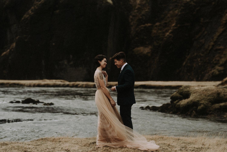 Iceland Elopement / Sumarokova Atelier Wedding Dress / Fjaðrárgljúfur Canyon