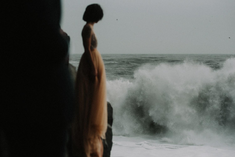 Iceland Elopement / Sumarokova Atelier Wedding Dress / Reynisfjara Black Sand Beach