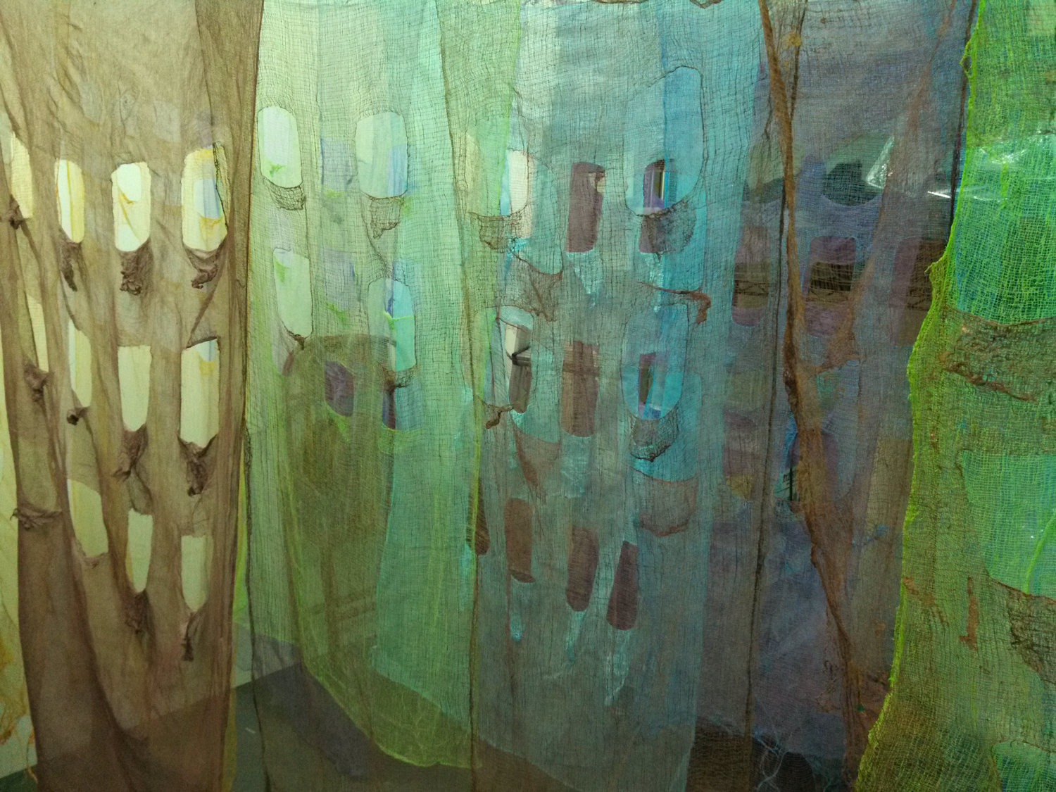 So where do you live? [installation from the Fragile City series]Dyed cheesecloth, monofilamentPriscilla Stadler 2014