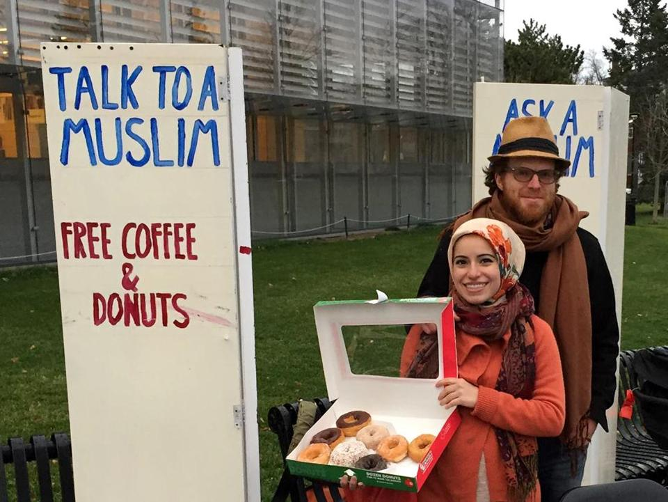 Mona Haydar and her husband, Sebastian Robins, outside a library in Cambridge, MA, December 2015.