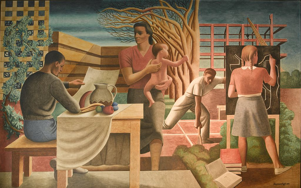 """"""" Security of the Family,"""" WPA mural for the  Health and Human Services Building, Washington D.C., by Seymour Fogel, an apprentice to Diego Rivera on his Roc kefeller Center mural."""