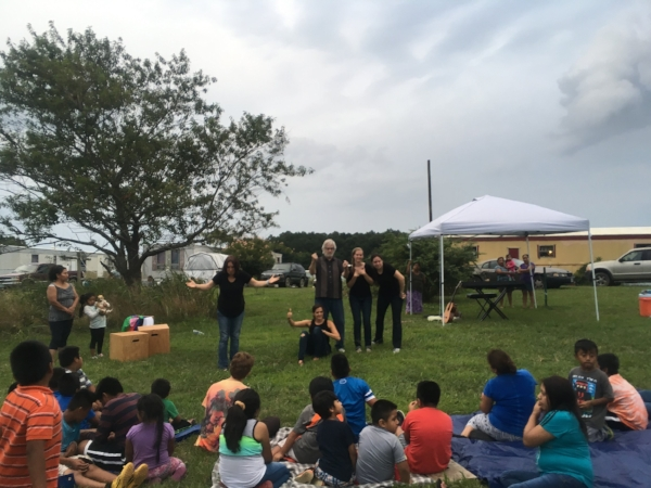 Inside Out Playback Theatre performance with migrant workers, Eastern Shore Virginia, summer 2017