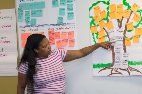 A participant in Southwest CDC's Art Powered Places Vision Tree Session