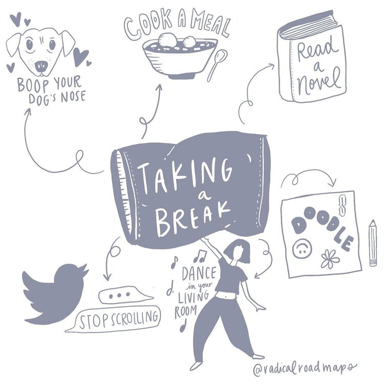 Image representing self care elements: taking a break, reading a novel, dancing, stop scrolling