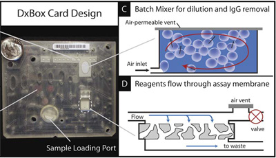 The proposed card is compact and intended to integrate with the DxBox. All sample processing occurs on-card including IgG filtration. This also depicts the porous nitrocellulose membrane of the FMIA which provides high assay surface area.