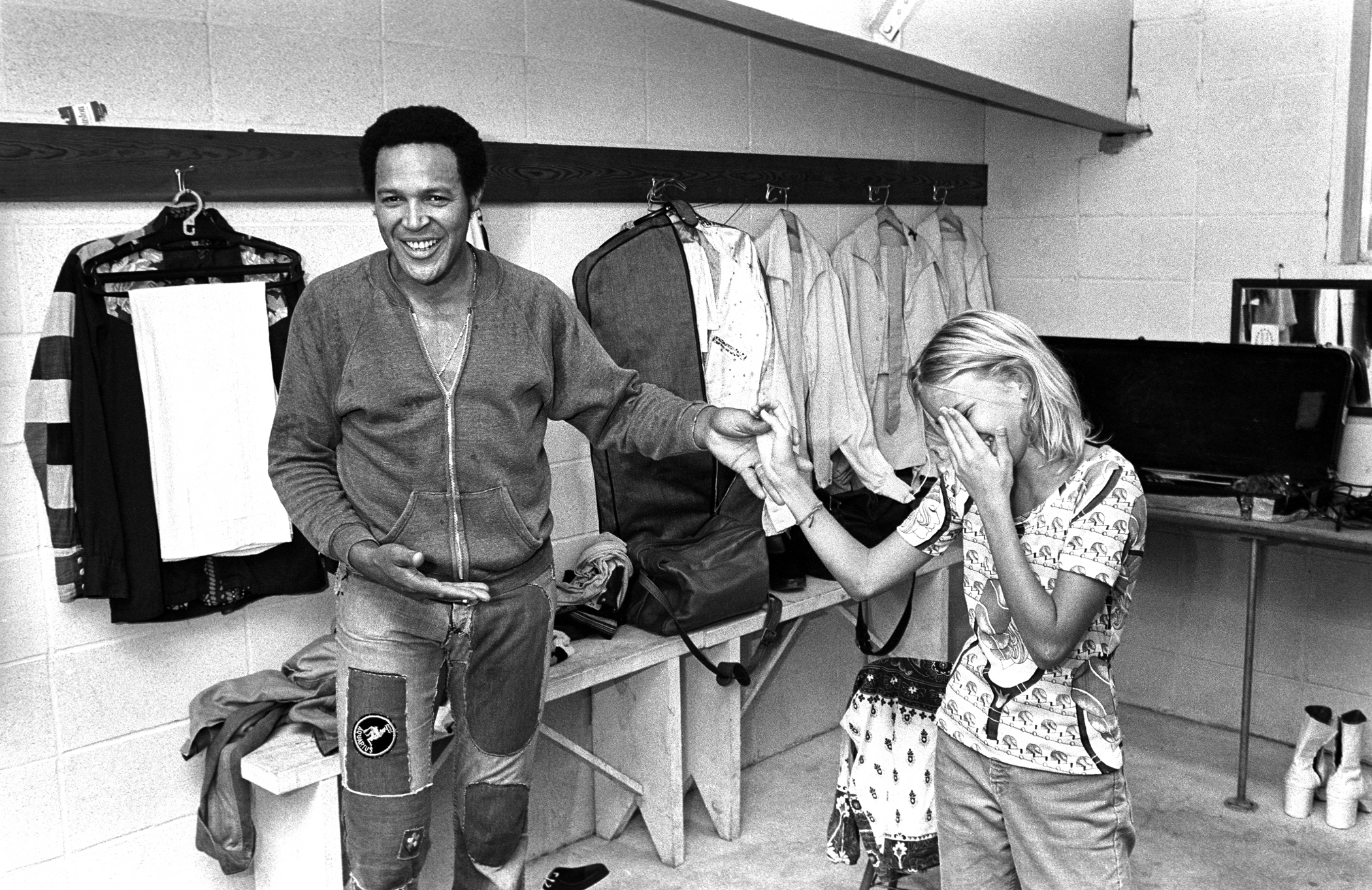 Chubby Checker greets fan backstage 1976