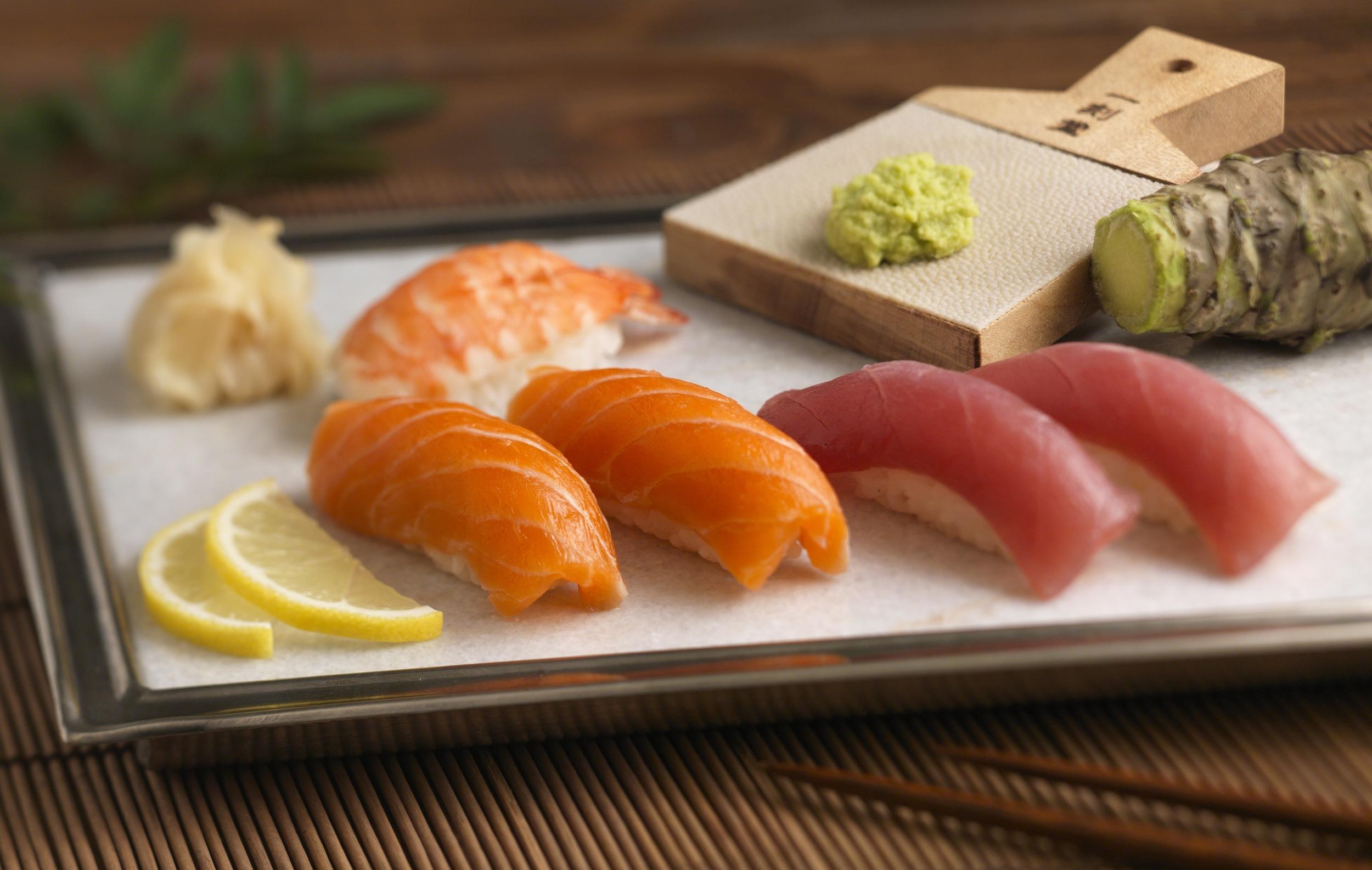 Sushi and fresh Wasabi Root