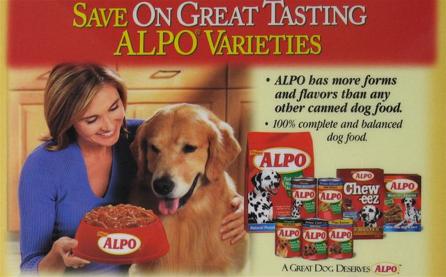 Alpo Dog Food can label advertising