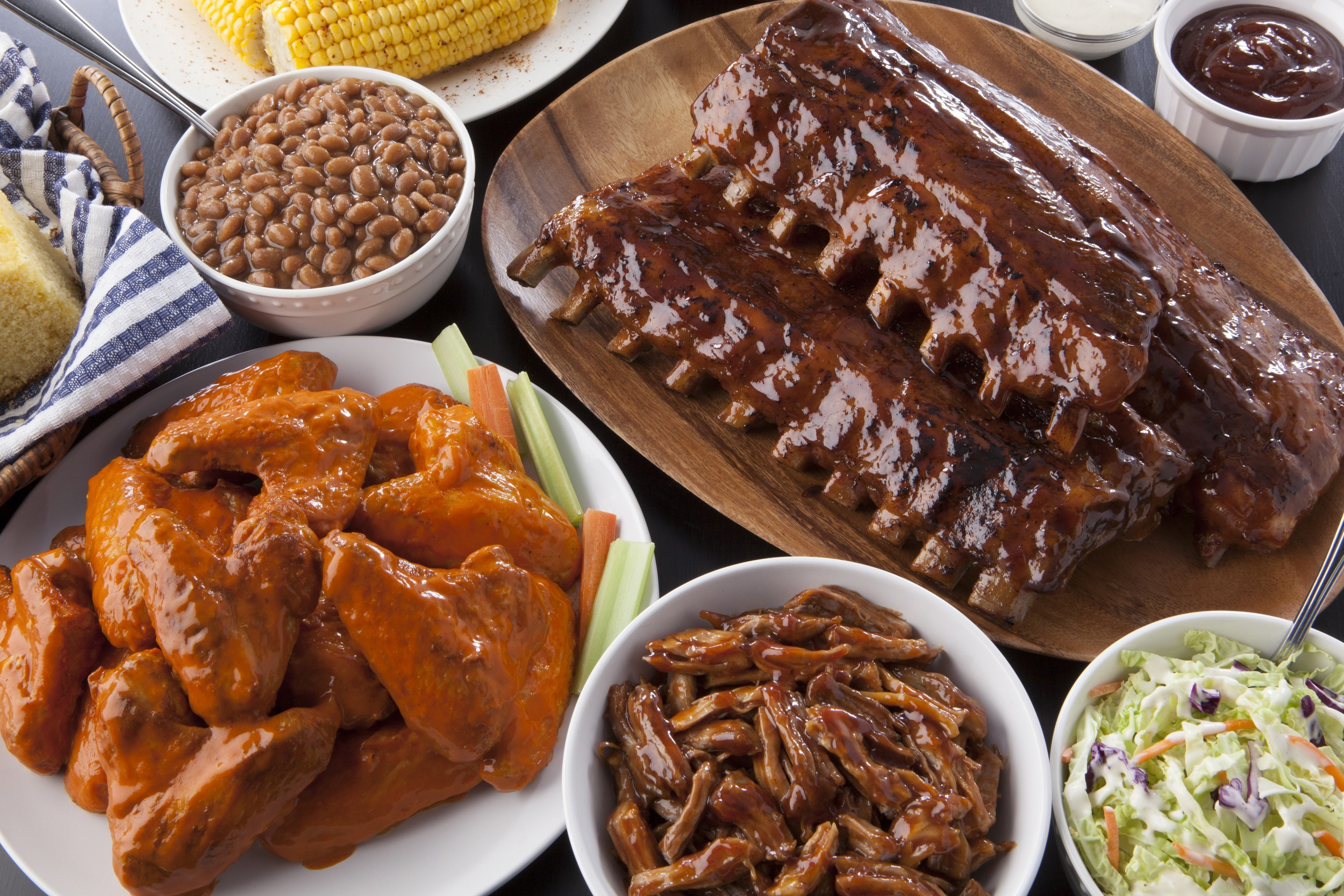 AAA Auto  BBQ Ribs, Chicken Wings, Pulled Pork,  Bushes Baked Beans, Cole Slaw
