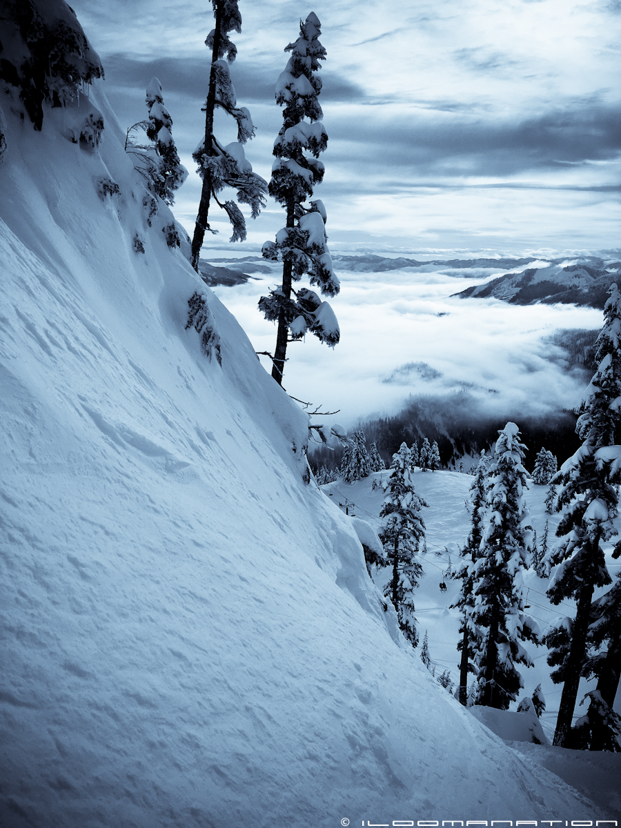 Another view above the clouds on a good pow day at Alpental.