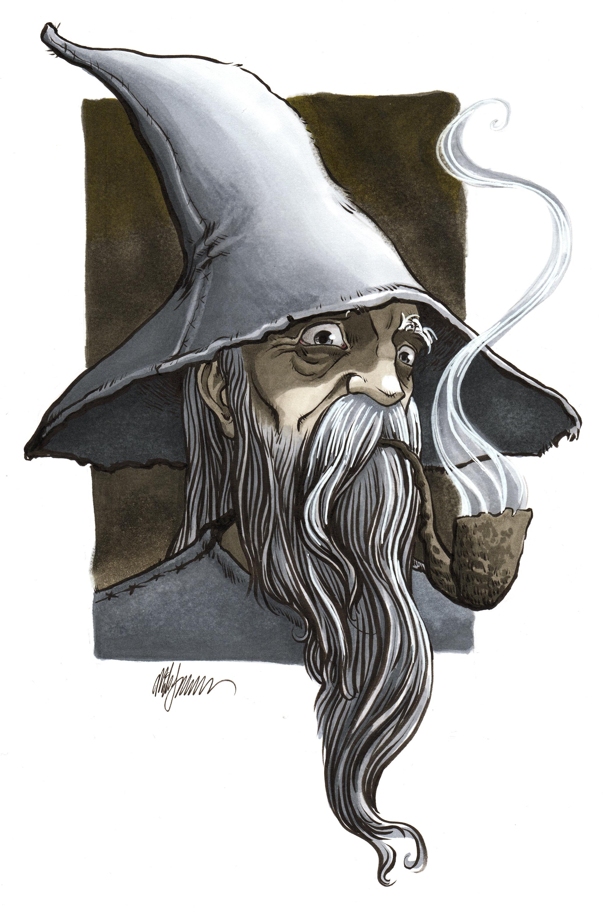 Gandalf   Copic Marker on Bristol SOLD