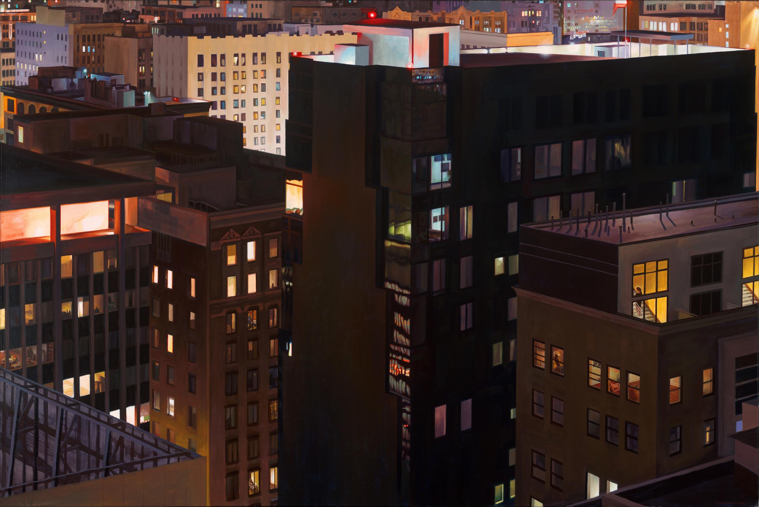 """Lovin' Thy Neighbor"", Oil on canvas, 40 x 60 in."