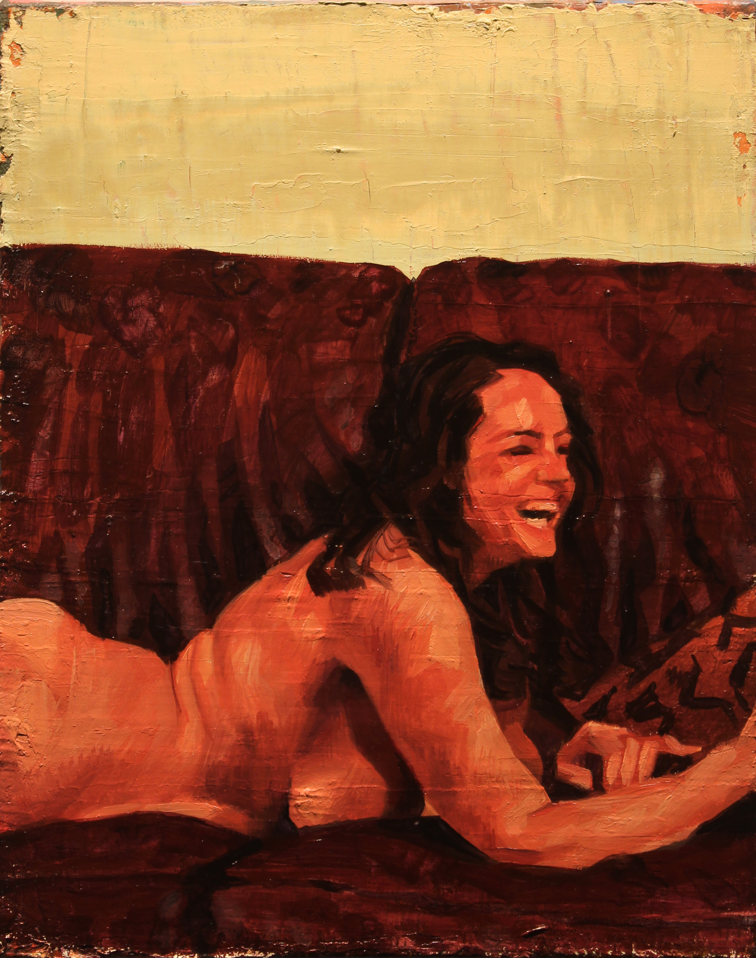 """Study for """"Katherine's Couch"""", Oil on canvas, 10 x 8 inches, 2016"""