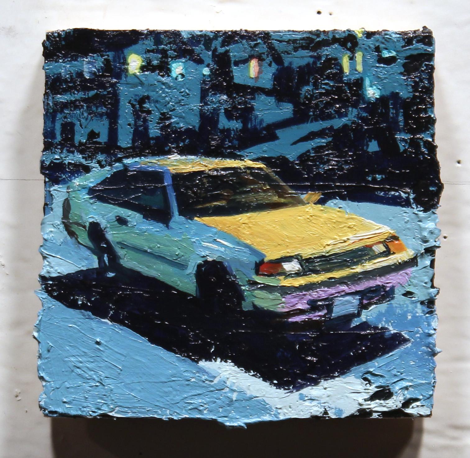 """""""Li'l Li'l Baja"""", oil on wood, 4 x 4 inches, 2016"""