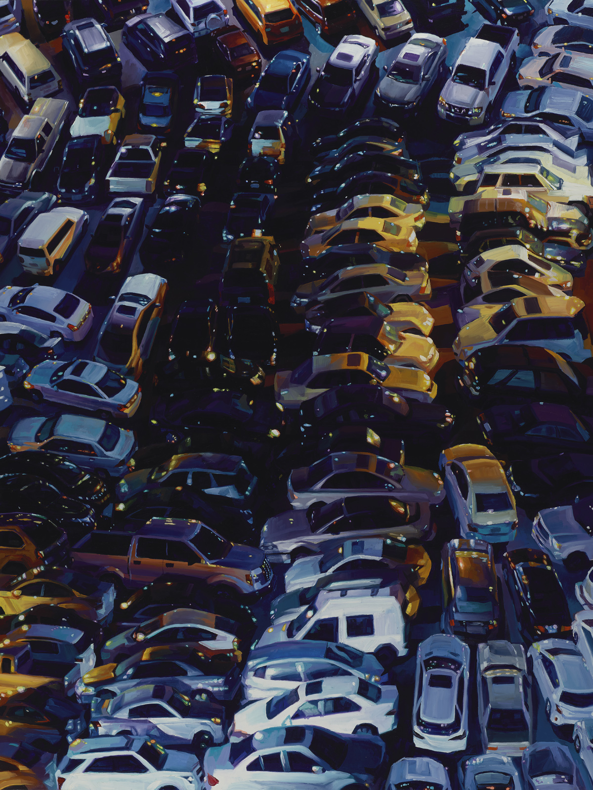 """""""Cars"""", oil on wood, 48 x 36 inches, 2016"""
