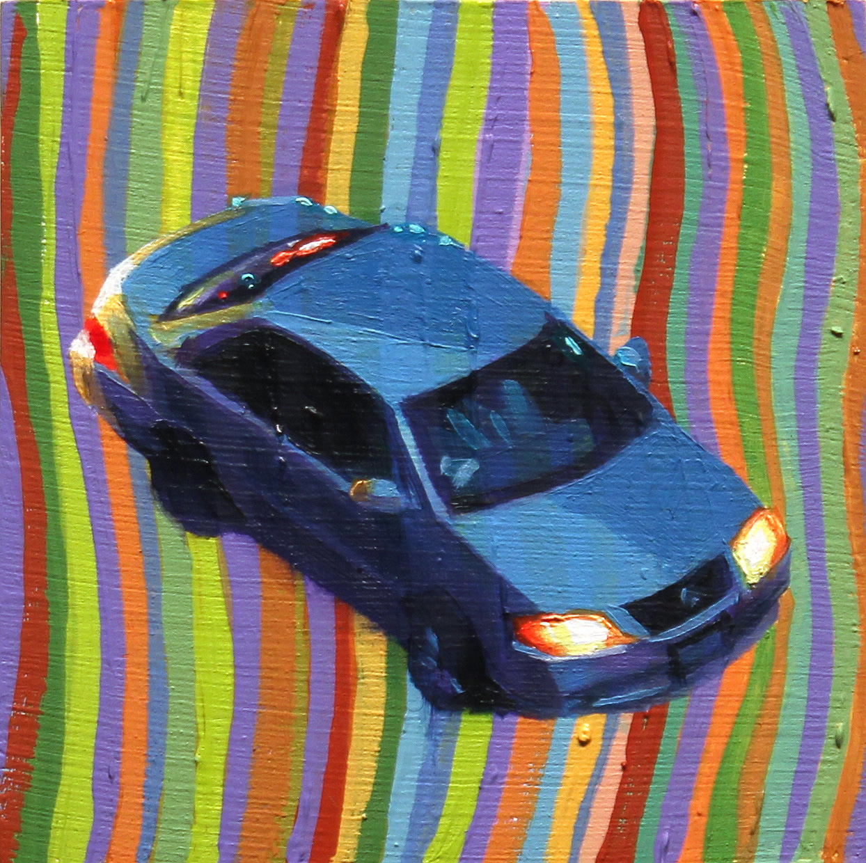 """""""Blue Car"""", oil on wood, 4 x4 inches, 2017"""