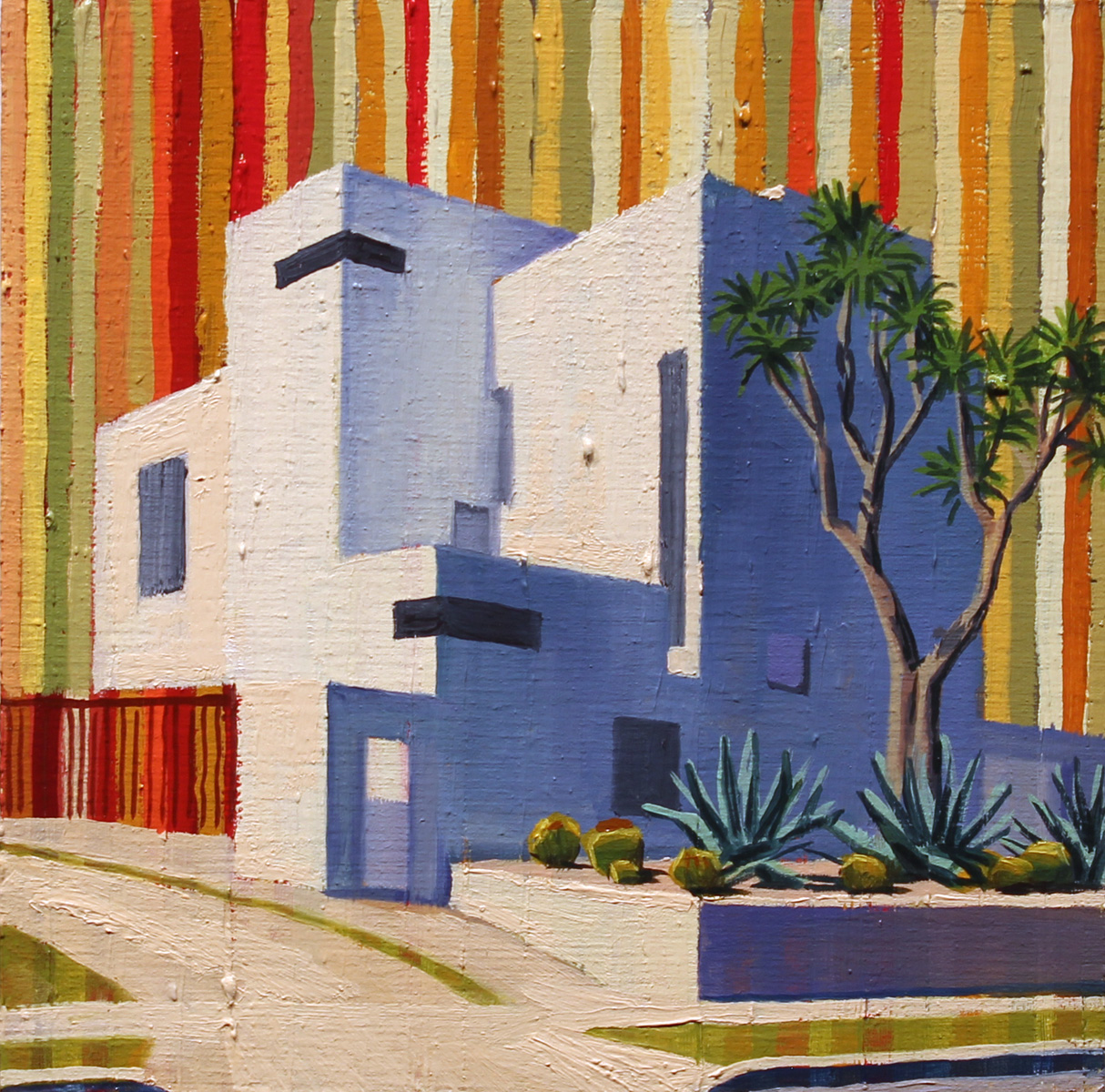 """""""Culver City"""", oil on wood, 6 x 6 inches, 2017"""