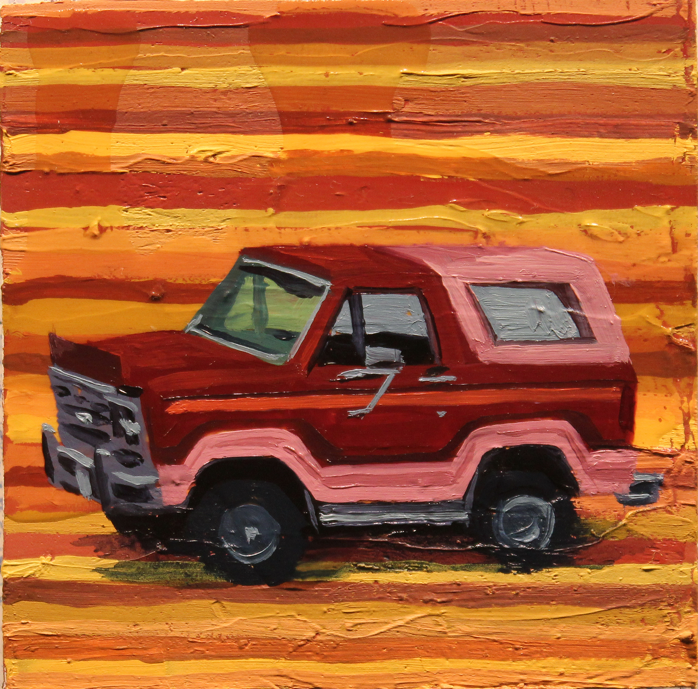 """El Bronco"", oil on wood, 4 x 4 inches, 2017"