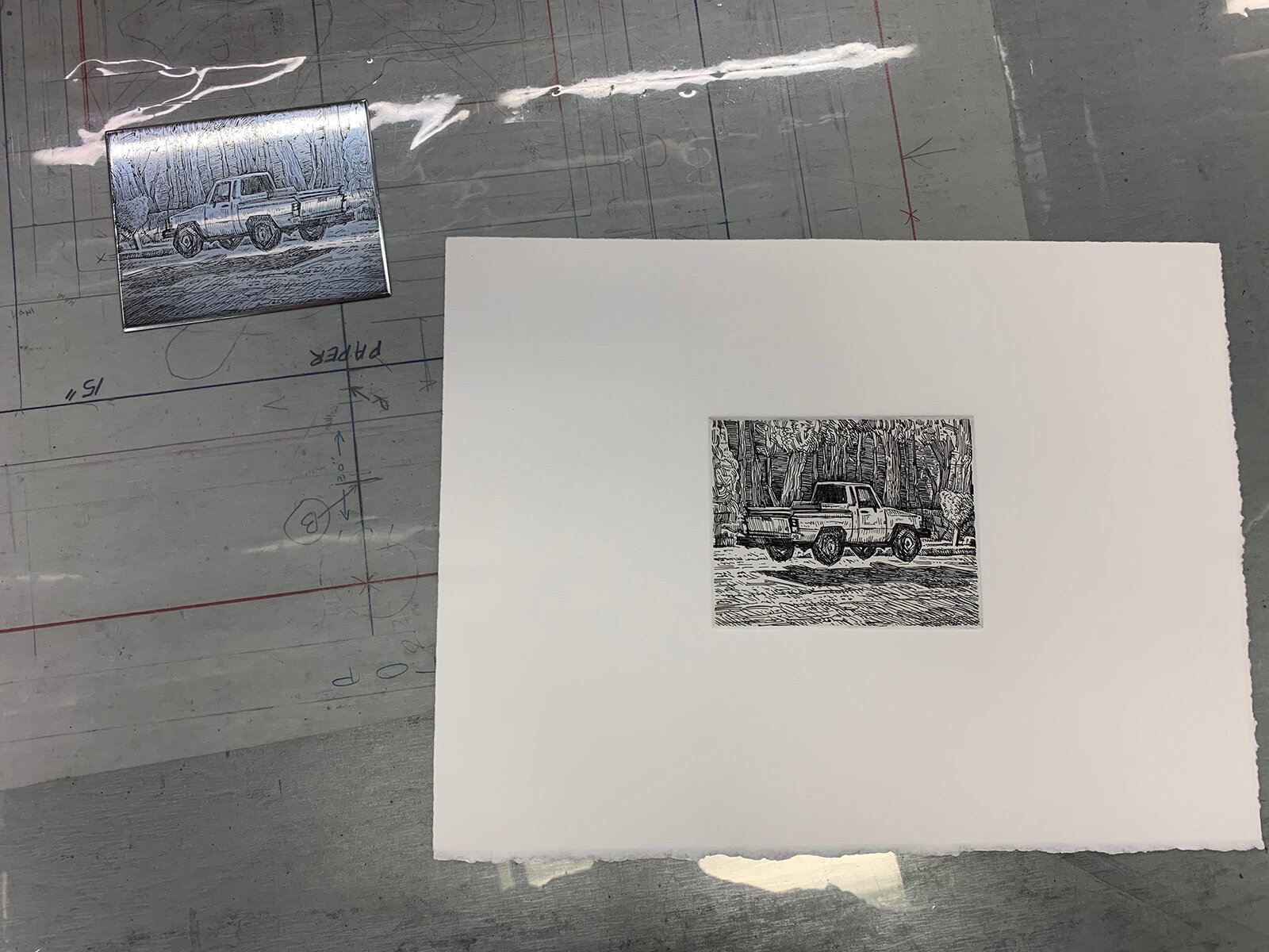 Printing the plate prior to aquatinting (I've got a small edition of this version to be released later).