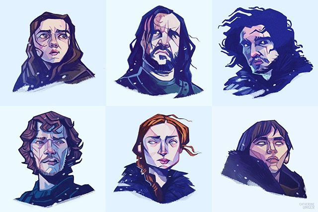 That's all folks, waving a sad farewell to #gameofthrones! At least we can't be spoiler-ed anymore! . Thank you to everyone who liked and enjoyed these illustrations over the last 3 years. I've drew 18 of these guys and wish I could have drawn more, but alas I have a job 😭.