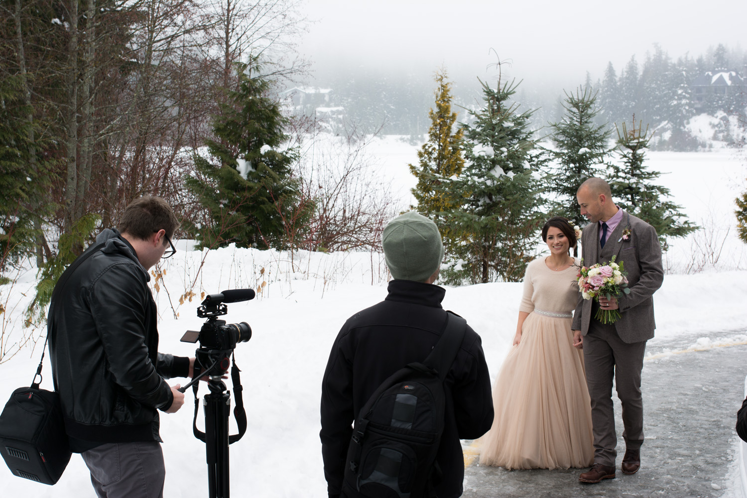 This was our first wedding where we had to shoot in the snow and it was cold! Luckily we came prepared with gloves and hot packs.