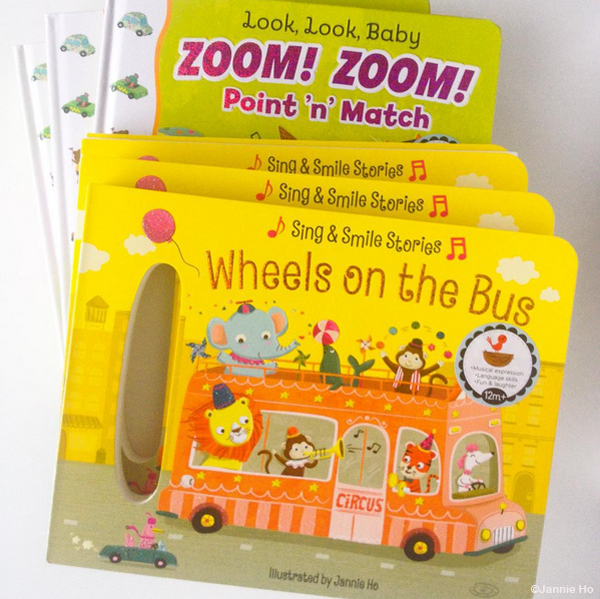 Wheels on the Bus & Look, Look Baby Zoom Zoom Point 'n' Match published by Cottage Door Press illustrated by Jannie Ho