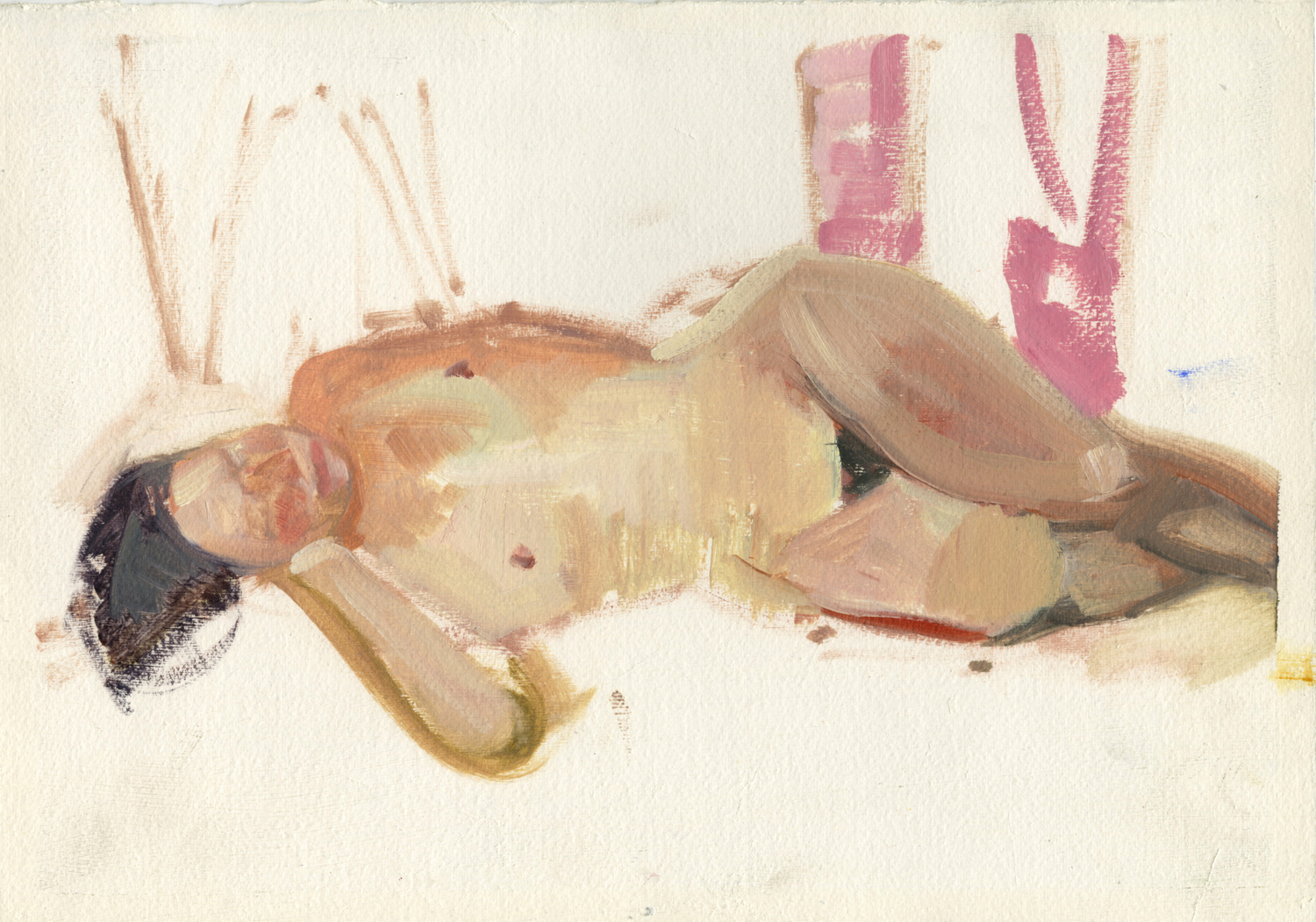 "Nude with Pink,  10"" x 14"", Oil on paper."