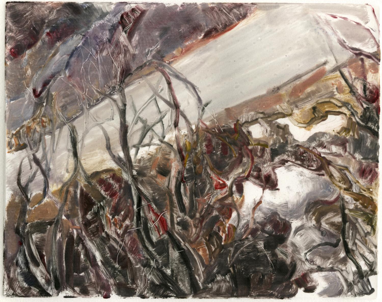 """Roadside melt (Red Rocks, Colorado), 8 """" x 10"""", Monotype."""