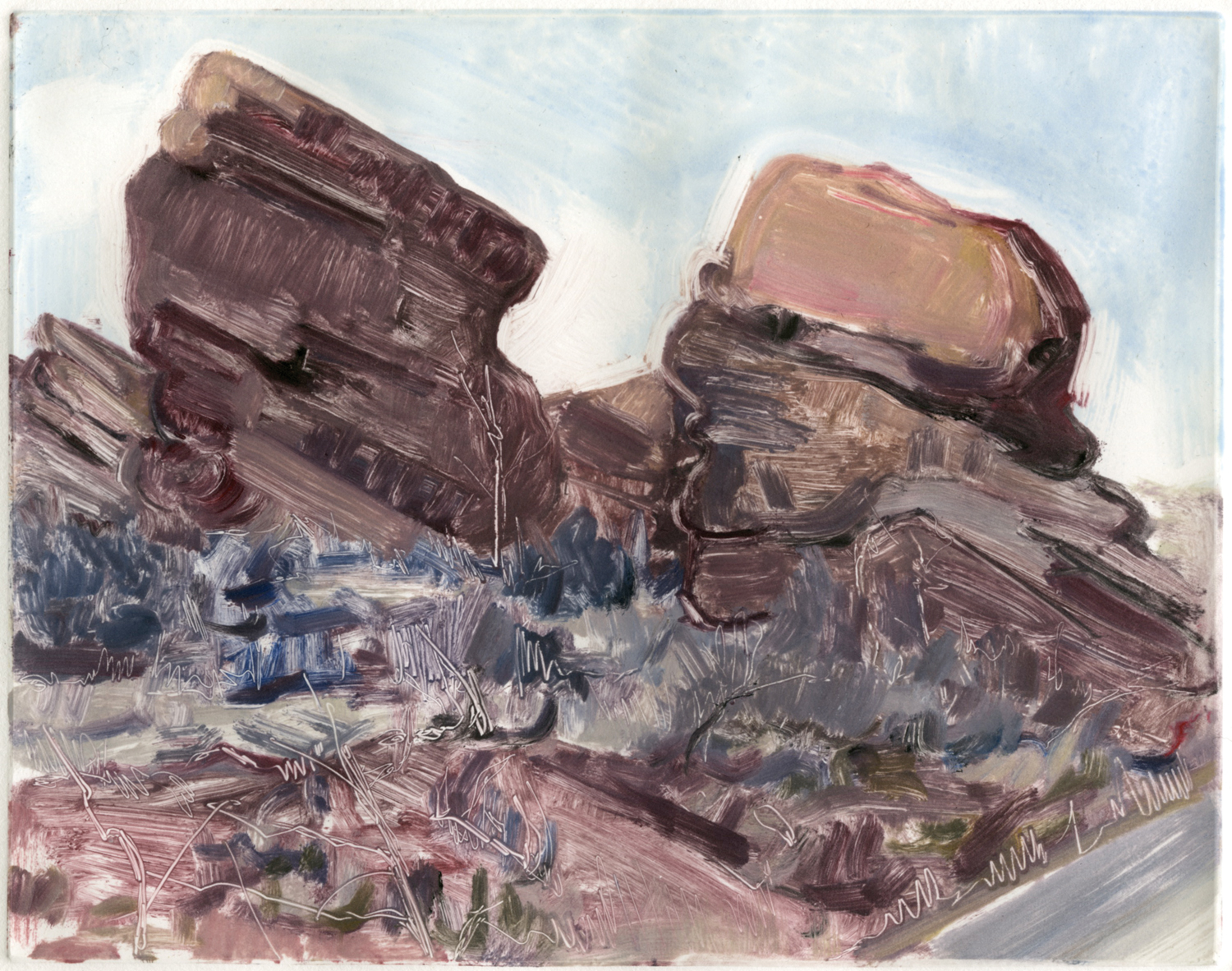 "Sister rocks (Red Rocks, Colorado) , 8"" x 10"", Monotype. Private collection."
