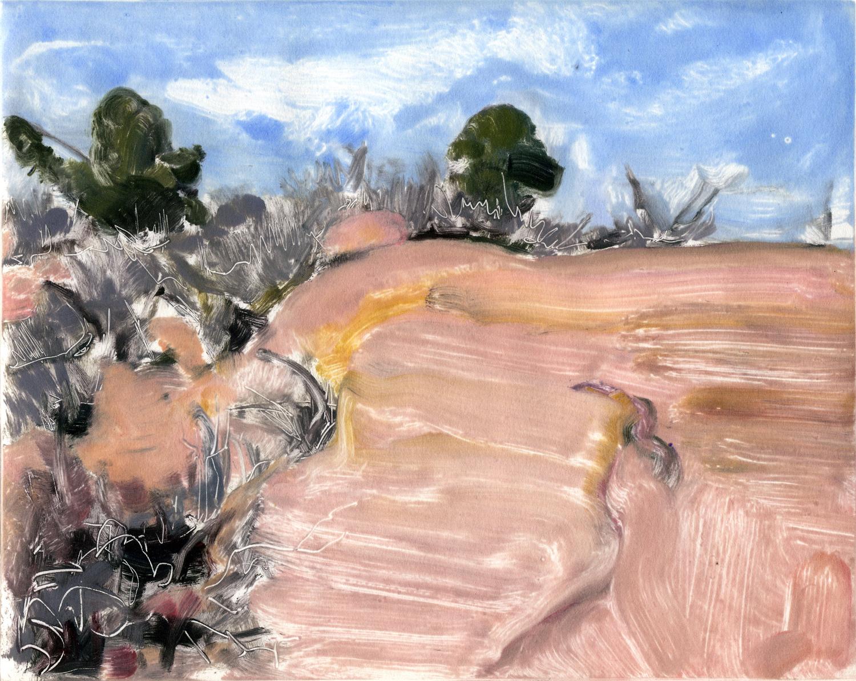 "Rocks, bush, sky (Red Rocks, Colorado) , 8"" x 10"", Monotype."