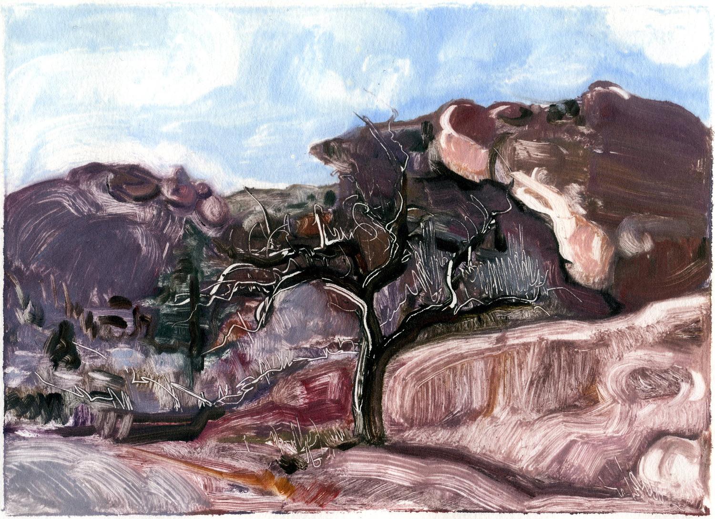 "Winter Tree (Red Rocks, Colorado), 5 "" x 7"", Monotype."
