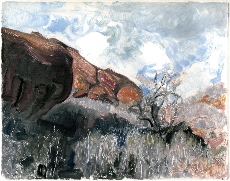 """Rock meets tree (Red Rocks, Colorado), 8 """" x 10"""", Monotype."""