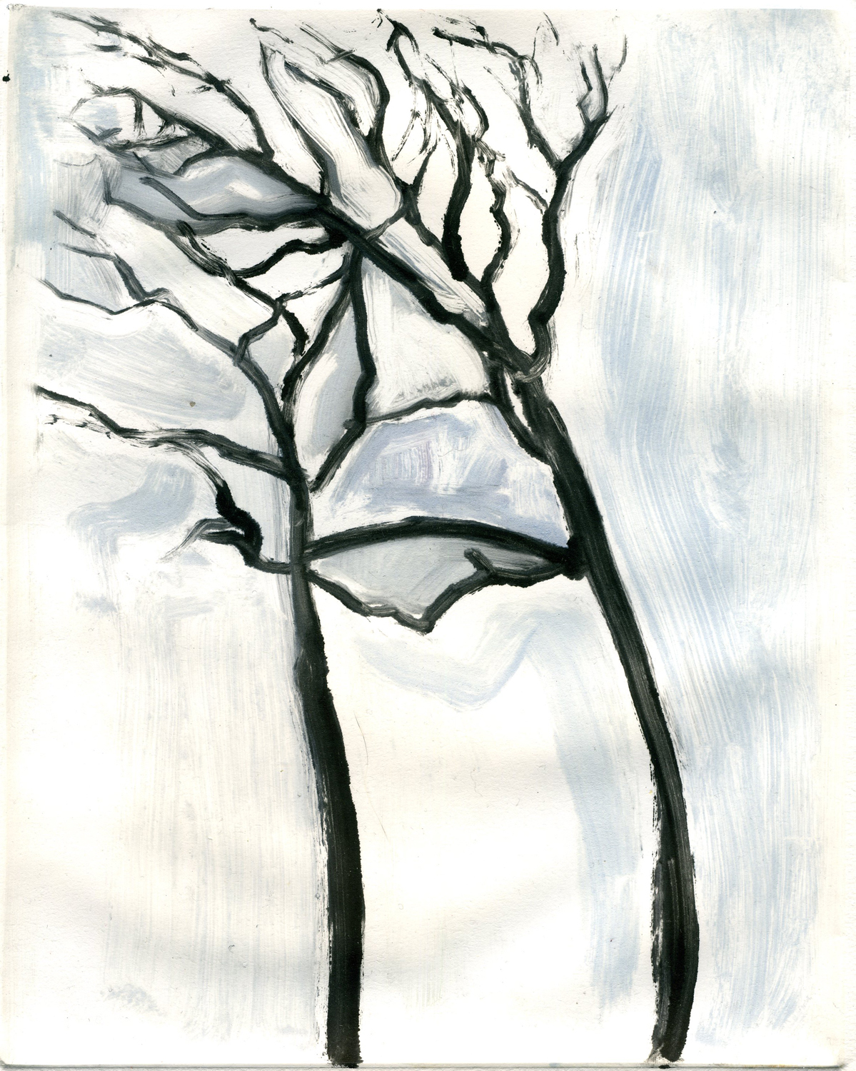 "You and me as trees (Project on memory), 10"" x 8"", Monotype."