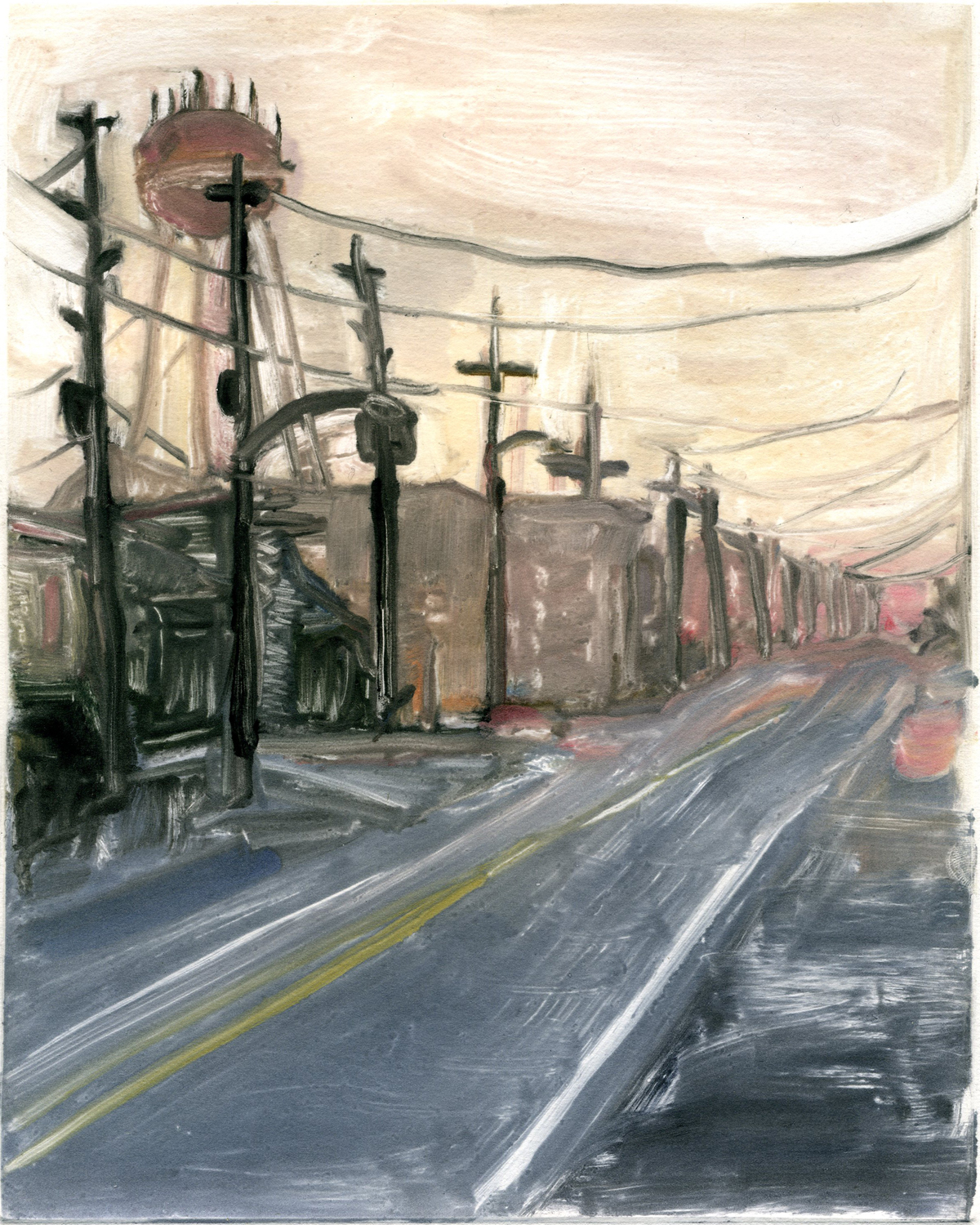 """The emptiness of winter (Project on memory), 10"""" x 8"""", Monotype."""