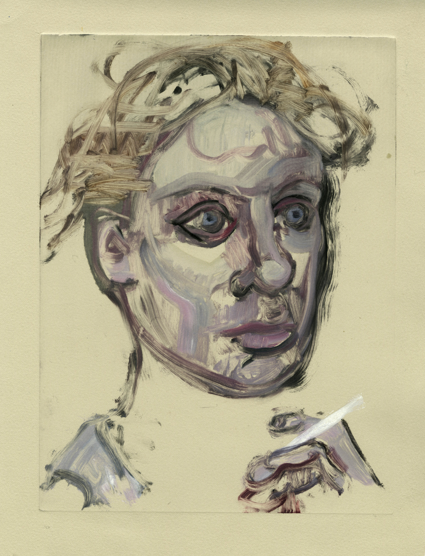 "Head with cigarette,  12"" x 9"", Monotype."