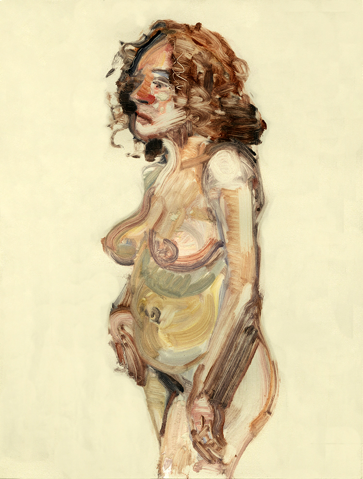 "Christine (standing nude) , 12"" x 9"", Monotype."