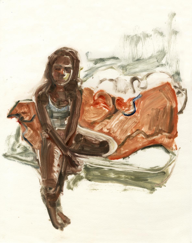 "Kat, Orange Comforter, 14"" x 11"", Monotype."