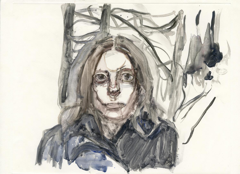 "Self Portrait, Winter, 14"" x 18"", Watercolor Monotype."