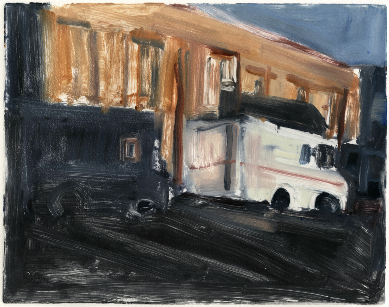 "Downtown, mail trucks,  8"" x 10"", Monotype."