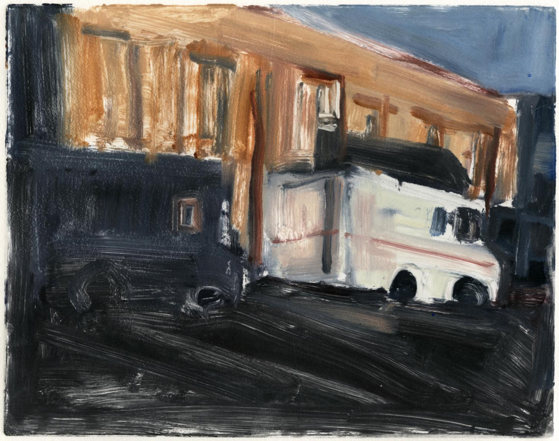 "Downtown, mail trucks,  8"" x 10"", Monotype."