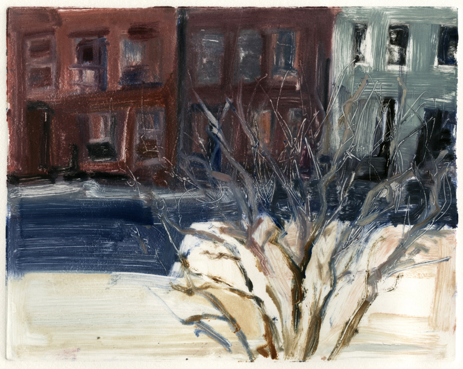"View from 130 South 2nd,  8"" x 10"", Monotype."