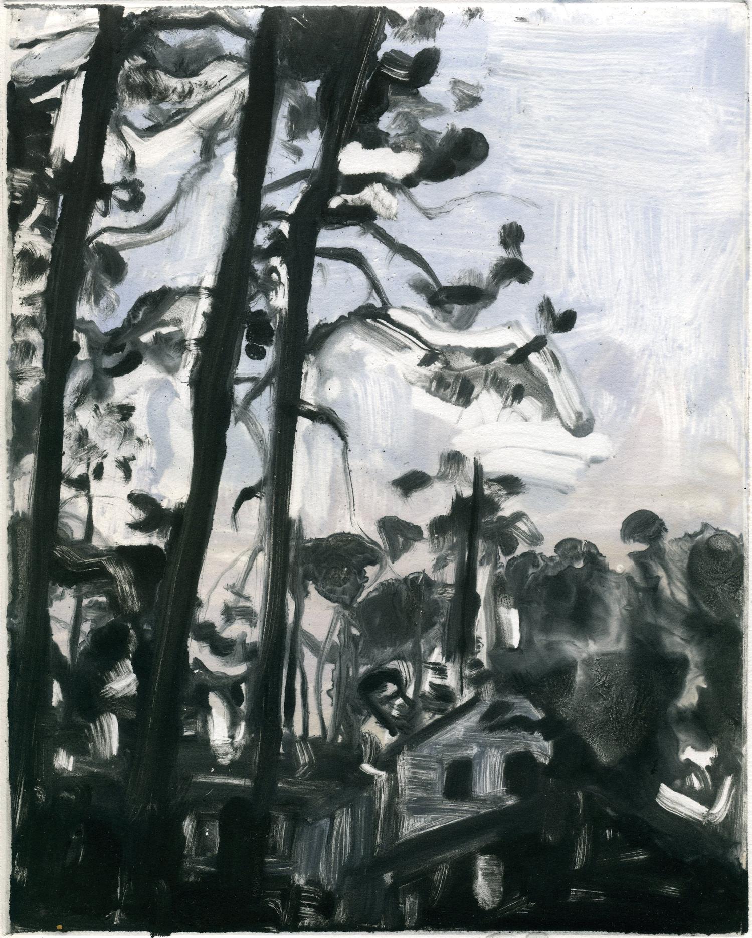 "Tall Georgia pines,  10"" x 8"",Monotype."