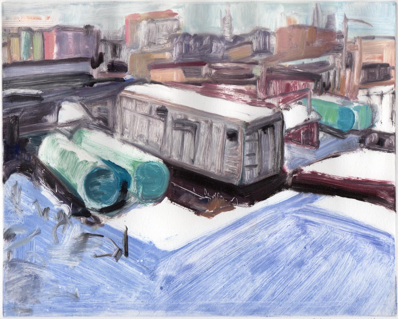 """Studio view, Winter, 8"""" x 10"""",Monotype."""