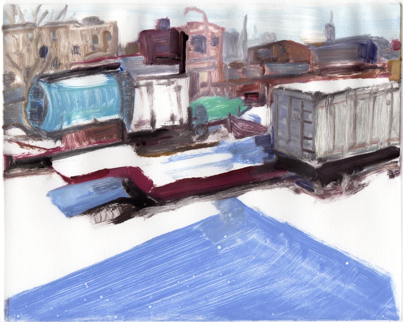 """Studio View, Winter #2, 8 """" x 10"""",  Monotype."""