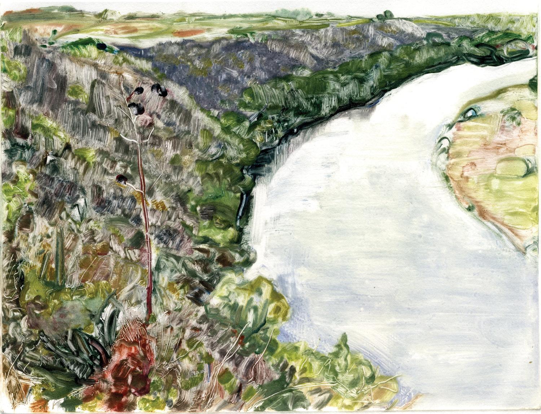 """Chavón River (Altos de Chavón Residency) , 9"""" x 12"""", Monotype."""