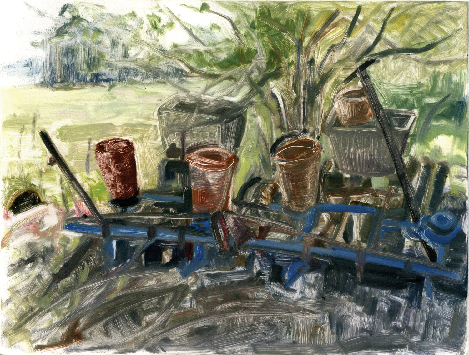 "Farm Equipment (Project on memory),  9"" x 12"". Monotype."
