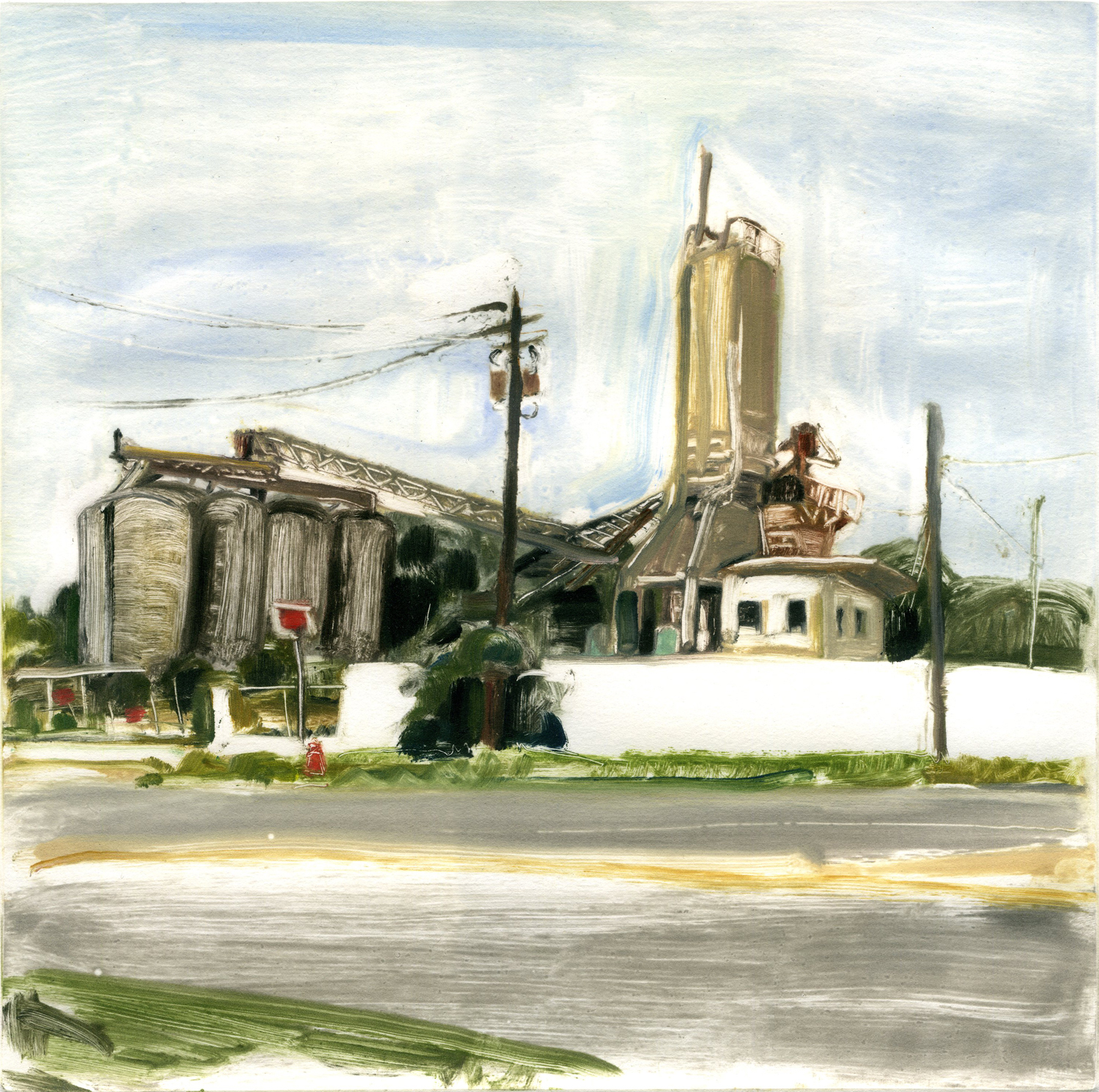 """Cement Factory (Fernandina Beach), 10"""" x 10"""", Monotype, Private Collection."""