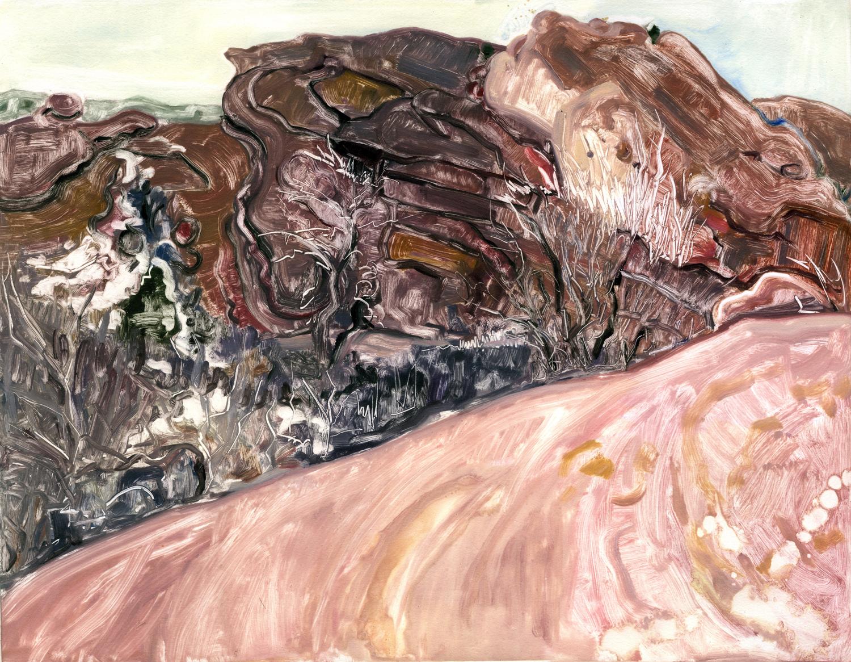 "Over a ridge (Red Rocks, Colorado) , 14"" x 18"", Monotype."