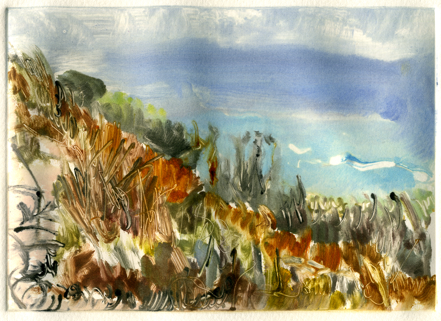 """Morning Blue (Route 1) , 5"""" x 7"""", Monotype."""